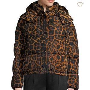 Moncler caille matte leopard print puffer jacket